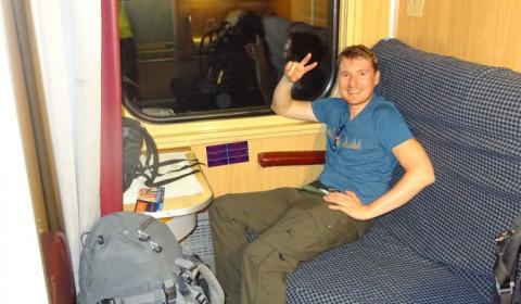 Matthias im Zug von Warschau nach Kiew