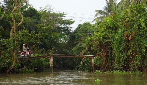 Holzbrücke über einen Mekongarm