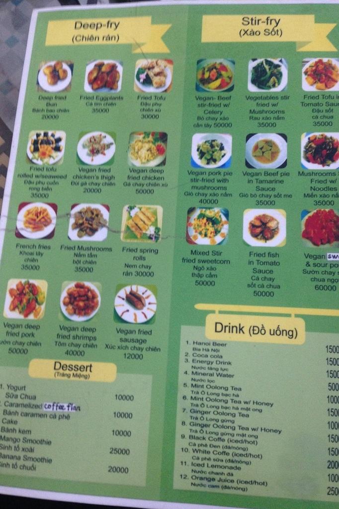 Speisekarte im veganen Restaurant
